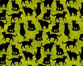 Quilt Fabric, Ghost Party, Black Cats, Halloween Cats, Spider Webs, Halloween Quilt, Halloween Fabric, Halloween Decor, 3 Wishes Fabric