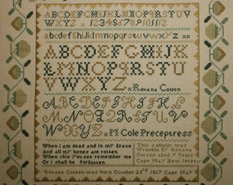 Counted Cross Stitch, The Roxana Corson Sampler, Cross Stitch Patterns, Reproduction Sampler, Inspirational, Jean Farish, PATTERN ONLY