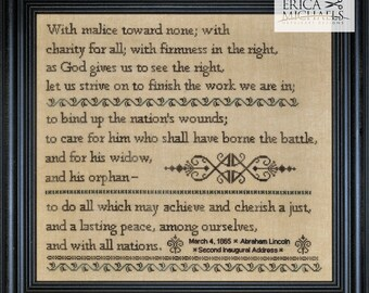 Counted Cross Stitch Pattern, Charity for All, Sampler, Abraham Lincoln, Inspirational, Inaugural Address, Erica Michaels, PATTERN ONLY