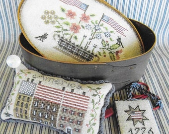 Counted Cross Stitch Pattern, Patriotic Shaker Box, Primitive Decor, Americana, Patriotic Box Set, The Scarlett House, PATTERN ONLY