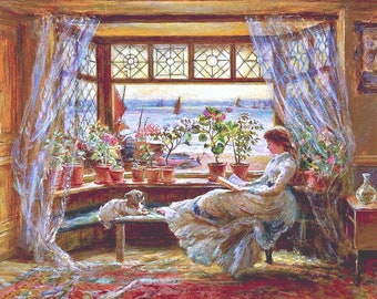Counted Cross Stitch Pattern, Reading by the Window, Victorian Reproduction, Harbor, Charles James Lewis, Cross Stitch Studio, PATTERN ONLY