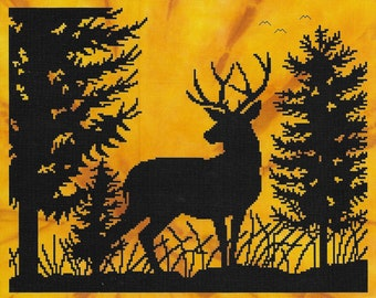Counted Cross Stitch Pattern, Morning Whitetail, Whitetail Deer, Woodland Decor, Silhouette, Monochromatic, Stoney Creek, PATTERN ONLY