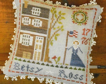 Counted Cross Stitch Pattern, Early Americans, No. 1, Betsy Ross, Cross Stitch, Little House Needleworks, Cross Stitch Pillow, PATTERN ONLY