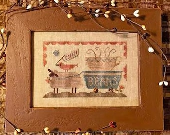 Cross Stitch Pattern, Delivering the Coffee Beans, Sheep, Primitive Decor, Colonial Decor, Folk Art, Homespun Elegance, PATTERN ONLY