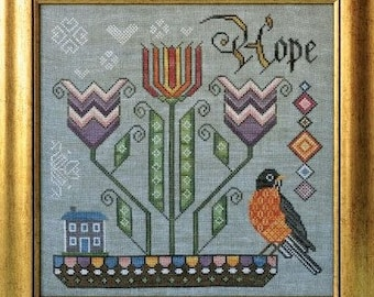 Counted Cross Stitch Pattern, Promise of Spring, Songbird's Garden, American Robin, Tulips, Folk Art, Cottage Garden, PATTERN ONLY
