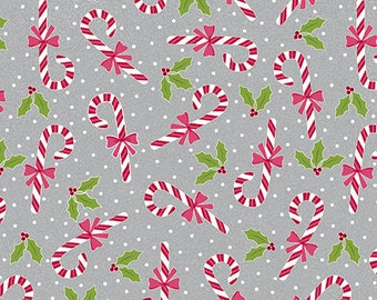 Quilt Fabric, Joy, Candy Canes, Grey, Christmas Fabric, Holiday, Benartex, Contempo, Cherry Blossom Quilting, Cherry Guidry
