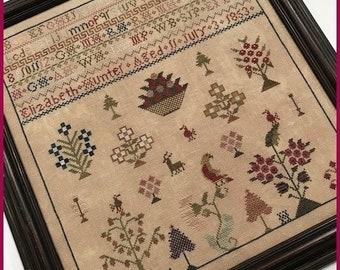 Counted Cross Stitch Pattern, Elizabeth Hunter 1853, Reproduction Sampler, Floral Motifs, Primitive Decor, The Scarlett House, PATTERN ONLY