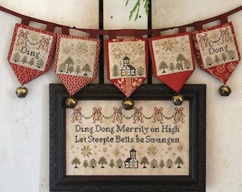 PRE-Order, Counted Cross Stitch Pattern, Ding Dong, Merrily on High, Christmas Sampler, Beth Twist, Heartstring Samplery, PATTERN ONLY