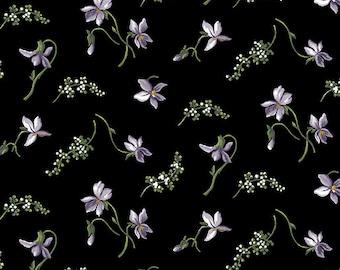 Quilt Fabric, Accent on Magnolias, Magnolia Blooms, Petite Purple/Black, Floral Quilt Fabric, Benartex, Jackie Robinson, Animas Quilts