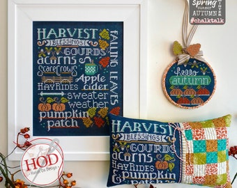Counted Cross Stitch Pattern, Let's Talk Autumn, Chalk Talk, Pumpkins, Scarecrow, Farm Decor, Cottage Chic, Hands On Design, PATTERN ONLY