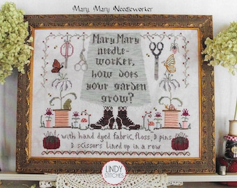 Counted Cross Stitch Pattern, Mary, Mary Needleworker, Sewing Decor, Nursery Rhyme, Cottage Chic, Lindy Stitches, PATTERN ONLY