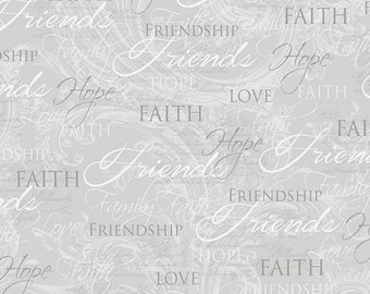 Quilters Cotton, Anything Inspirational, Religious Fabric, Faith, Hope, Love, Friendship, Cotton Fabric, Lula Bijoux, David Textiles