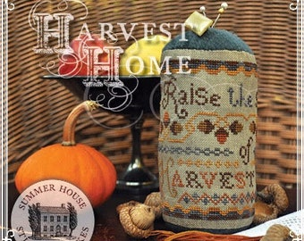 Counted Cross Stitch, Harvest Home, Cross Stitch Pattern, Thanksgiving, Pinkeep Drum, Summer House Stitche Workes, PATTERN ONLY