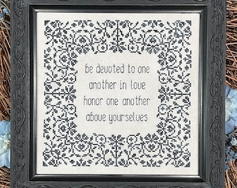 Counted Cross Stitch Pattern, Be Devoted to One Another, Scriptural Sampler, Wedding, Inspirational, My Big Toe Designs, PATTERN ONLY