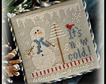 Counted Cross Stitch Pattern, It's Snow Cold, Christmas Ornament, Snowman Ornament, Christmas, Little House Needleworks, PATTERN ONLY