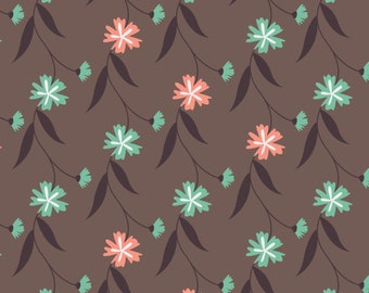 Quilt Fabric, In The Woods, Floral Vine, Brown, 100% Cotton, Quilter Cotton, Cotton Fabric, Premium Cotton, Alisse Courter, Camelot Fabrics