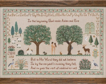 Counted Cross Stitch Pattern, Last Day in Paradise, Adam and Eve, Garden of Eden, Tree of Life, Religious, Paradise Stitchery, PATTERN ONLY