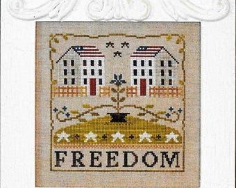 Counted Cross Stitch Pattern, Freedom, Americana, Patriotic Decor, Saltbox Houses, American Flag, Little House Needleworks, PATTERN ONLY