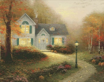 Counted Cross Stitch Pattern, The Blessings of Autumn, Cottage Decor, Countryside, Thomas Kinkade, Heaven and Earth Designs, PATTERN ONLY