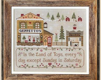 Counted Cross Stitch Pattern, Geppetto's, Toy Store, Inspiration, Puppets, Toy Workshop, Little House Needleworks, PATTERN ONLY
