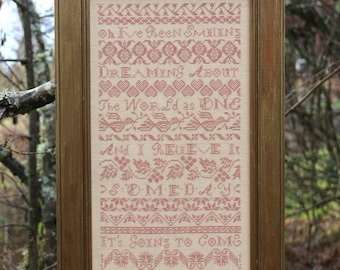 Counted Cross Stitch Pattern, Peace Band Sampler, Band Sampler, Cross Stitch Sampler, Beth Twist, Heartstring Samplery, PATTERN ONLY