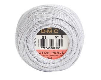 DMC Perle Cotton, Size 8, DMC 01, White Tin, Pearl Cotton Ball, Embroidery Thread, Punch Needle, Embroidery, Penny Rugs, Sewing Accessory
