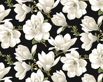 Quilt Fabric, Accent on Magnolias, Magnolia Blooms, Allover Cream/Black, Floral Quilt Fabric, Benartex, Jackie Robinson, Animas Quilts