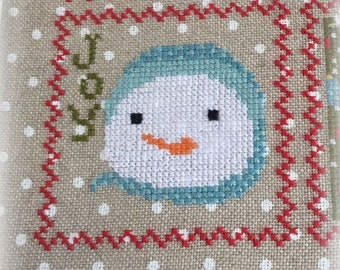 Counted Cross Stitch, Snowy 9 Patch, Snowman, Part 7, Snow, Winter Decor, Snowflakes, Christmas Decor, Annie Beez Folk Art, PATTERN ONLY