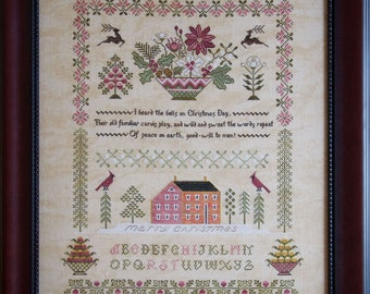 Counted Cross Stitch Pattern, Peace on Earth Sampler,  Cardinal, Saltbox House, Christmas, Inspirational, Cottage Garden, PATTERN ONLY