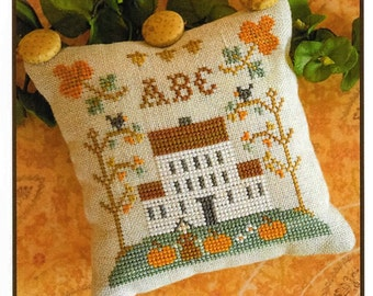 Counted Cross Stitch Pattern, ABC Samplers, #1, Cross Stitch Sampler, Little House Needleworks, Cross Stitch Pillow, Autumn, PATTERN ONLY