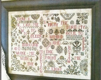 Counted Cross Stitch Pattern, Quaker Evening Prayer, Quaker Sampler, Childs Prayer Sampler, Quaker Motif, White Lyon Needleart, PATTERN ONLY