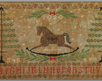 Counted Cross Stitch Pattern, Rocking Horse Holiday, Primitive Decor, Bottle Brush Trees, Christmas Sampler, Artful Offerings, PATTERN ONLY