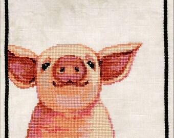 Counted Cross Stitch Pattern, Wilbur, Farmhouse Decor, Pig, Folk Art, Country Decor, Primitive Decor, Teresa Kogut, PATTERN ONLY