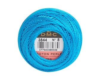 DMC Perle Cotton, Size 8, DMC 3844, Turquoise, Pearl Cotton Ball, Embroidery Thread, Punch Needle, Embroidery, Penny Rug, Sewing Accessory