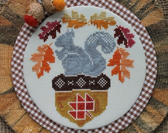 Counted Cross Stitch Pattern, A Squirrel and His Nut, Acorns, Banner, Autumn Decor, Fall Decor, Oak Leaves, Luhu Stitches, PATTERN ONLY