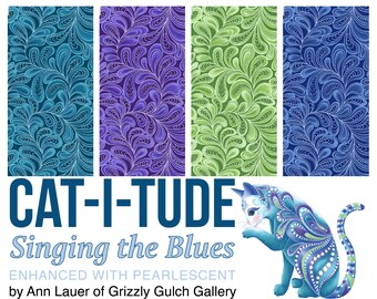 Quilt Fabric, Cat-I-Tude, Feather Frolic, Tonal Blender, Quilters Cotton, Singing the Blues, Fabric, Ann Lauer, Grizzly Gulch, Benartex