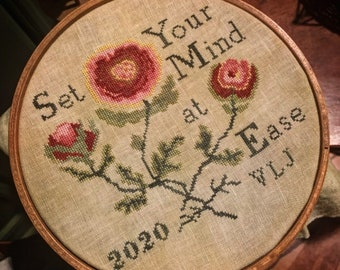Counted Cross Stitch, Set Your Mind at Ease, Antique Purse Design Inspired, Roses, Inspirational, Comfort, Needle Work Press