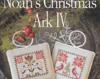 Counted Cross Stitch Pattern, Noah's Christmas Ark, Pandas Ornament, Parrots Ornament, Christmas Decor, Plum Street Sampler, PATTERN ONLY