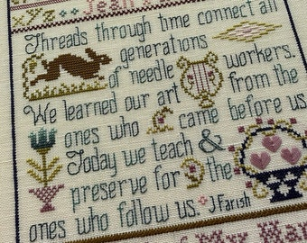 Counted Cross Stitch, The Hare & The Basket, Cross Stitch Patterns, Sampler, Inspirational, Rabbit, Flower Basket, Jean Farish, PATTERN ONLY