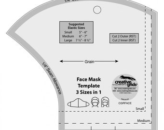 Face Mask Ruler, Face Mask Template, Creative Grids Acrylic Ruler, Face Mask Ruler, Creative Grids Face Mask Ruler, Made in USA