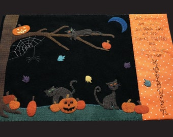 Wool Applique Pattern, Mystery and Magic, Wool Candlemat, Halloween Decor, Autumn Decor, Black Cats, Pumpkins, Nutmeg Hare, PATTERN ONLY