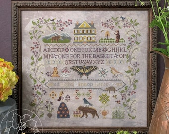Counted Cross Stitch Pattern, Huckleberry Farm, Farm Sampler, Huckleberries, Bears, Farmhouse, Woodland, The Blue Flower, PATTERN ONLY