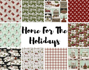 Quilt Fabric, Home for the Holidays, Christmas, Snowmen, Christmas Scene, Trees, Plaid, Reindeer, Beth Albert, 3 Wishes Fabric