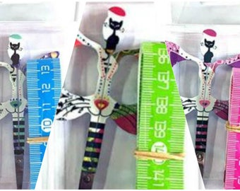 Embroidery Scissors, Bohin Limited Edition, Cat Scissors, Gift Set, Blue Green or Pink, Measuring Tape, Scissors, Sewing Accessory