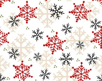 Flannel Fabric, Flannel Gnomies, Snowflakes, Snowflakes, Winter Flannel, Cotton Flannel, Quilting Flannel, Shelly Comiskey, Henry Glass