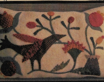 Wool Applique Pattern, Bird and Flowers, Wool Applique Pillow, Primitive Black Crow, Wool Wall Hanging, PATTERN ONLY