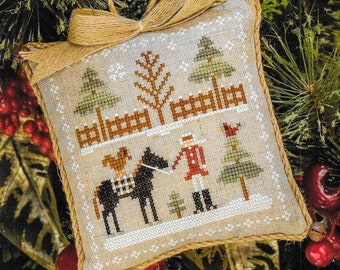 Counted Cross Stitch Pattern, Horsin' Around, Farmhouse Christmas, Cross Stitch Pillow, Ornament, Little House Needleworks, PATTERN ONLY