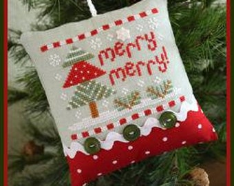 Counted Cross Stitch, Merry Merry, Christmas Ornament, Christmas Pillow, Christmas Tree, Country Cottage Needleworks, PATTERN ONLY