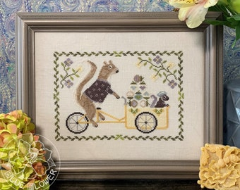 Counted Cross Stitch Pattern, Summer Squirrel, Cross Stitch Pattern, Acorn, Baby Squirrel, Baby Carriage, The Blue Flower, PATTERN ONLY