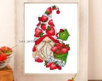 Counted Cross Stitch Pattern, Strawberry Gnome, Strawberries, Birdhouse, Garden Gnome, Les Petites Croix de Lucie, PATTERN ONLY